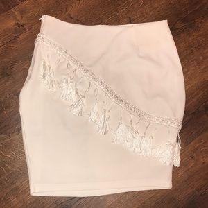 NASTY GAL -VERA AND LUCY White Tassle Mini Skirt